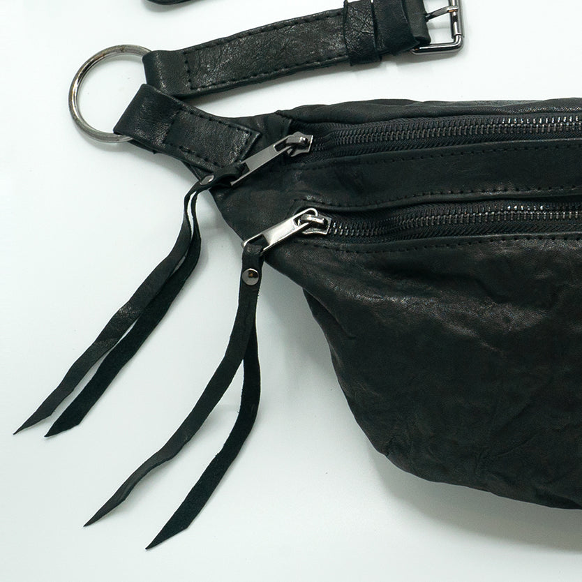 The Everywhere Bag — Distressed Black Leather with Gunmetal Hardware
