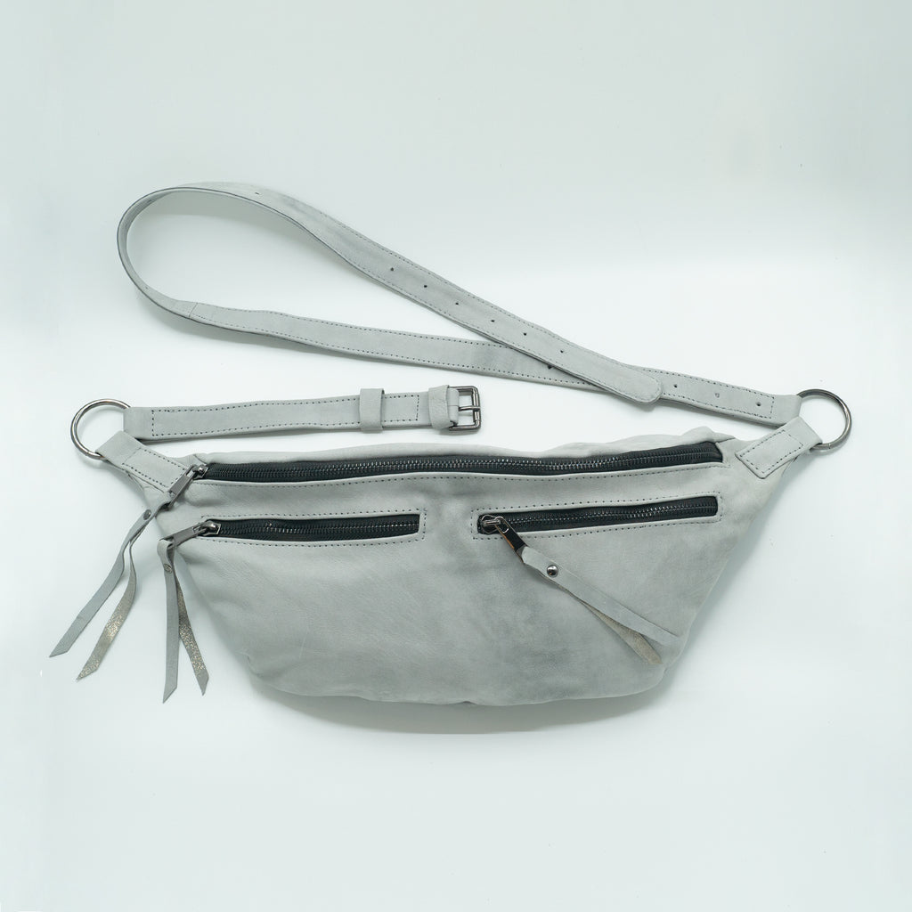 The Everywhere Bag #8 — Light Grey Suede with Gunmetal Hardware