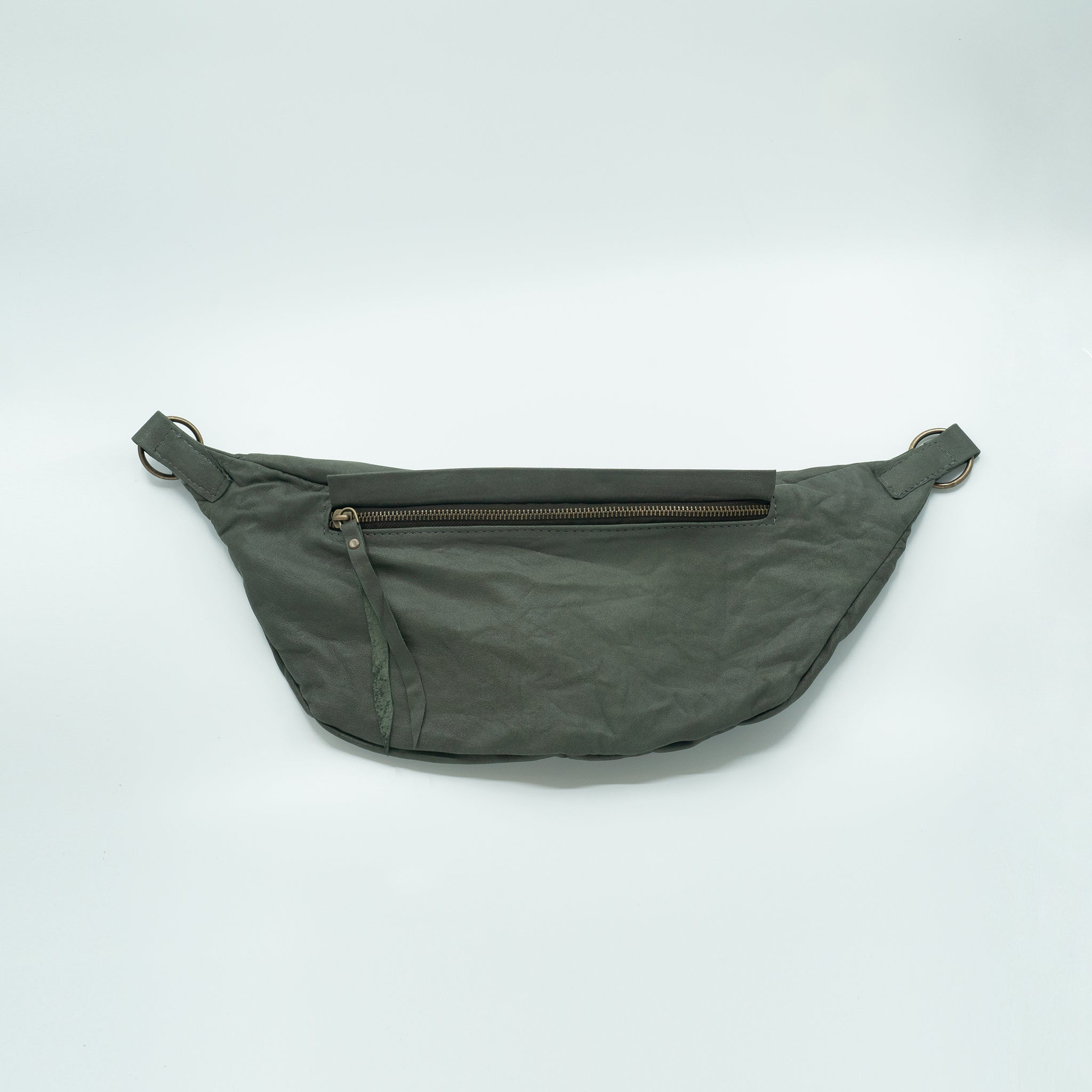 The Everywhere Bag #9 — Dark Olive Green Leather with Brass Hardware