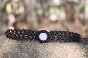 The One Moon Headdress/Choker in Dark Brown with Banded Pink Moonstone