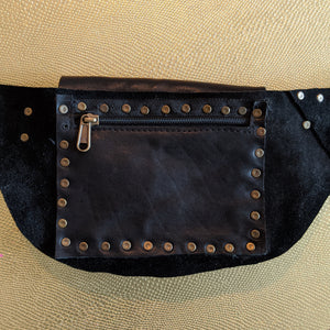 The Hilltop Bag — Grainy Black Leather with Brass Hardware