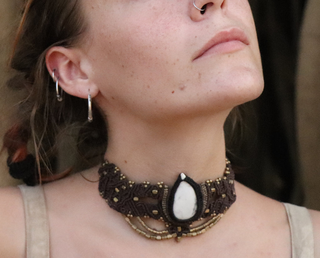 The QueenOffDuty Headdress/Choker in Brown Deep with White Opaque Slab Stone
