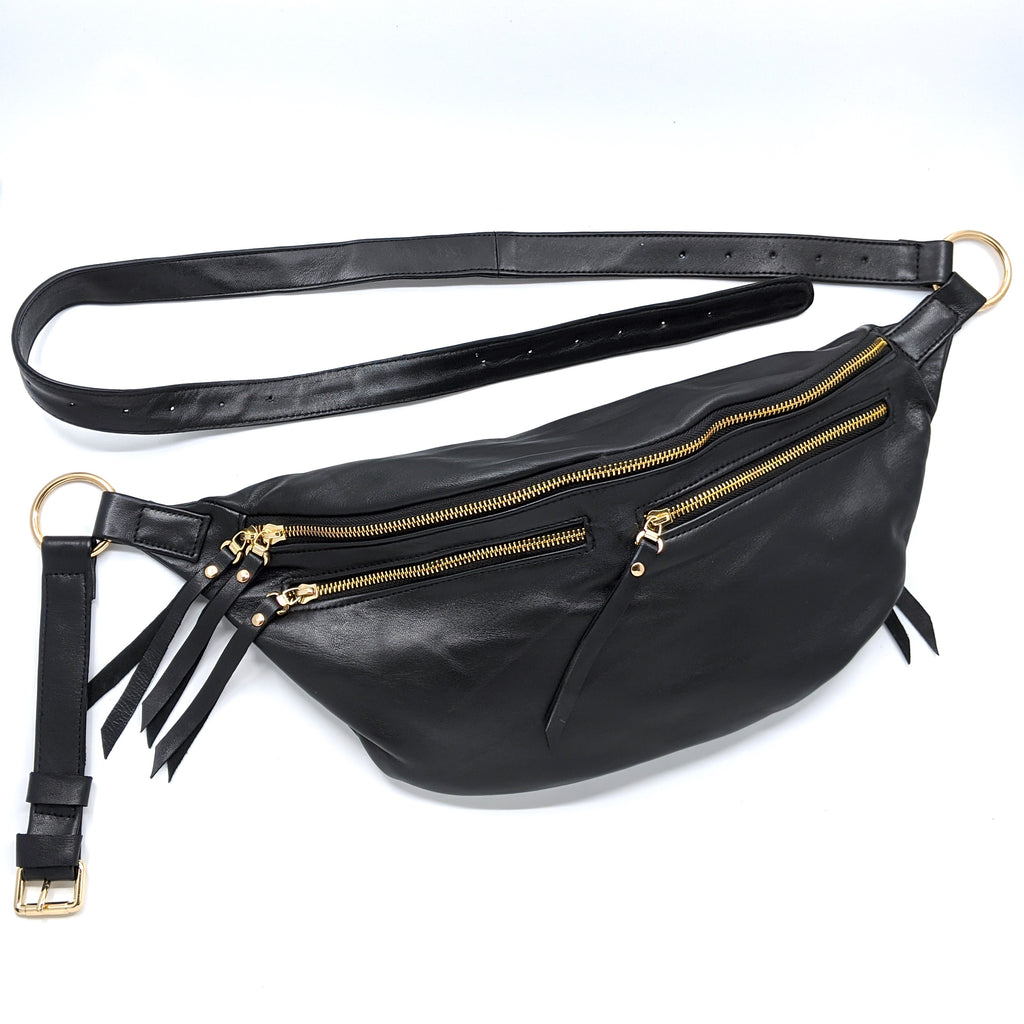 The Everywhere Bag — Smooth Black Leather with Gold Hardware