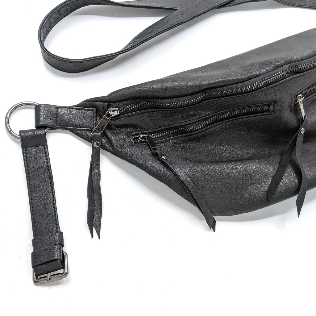The Everywhere Bag — Grainy Black Leather with Gunmetal Hardware