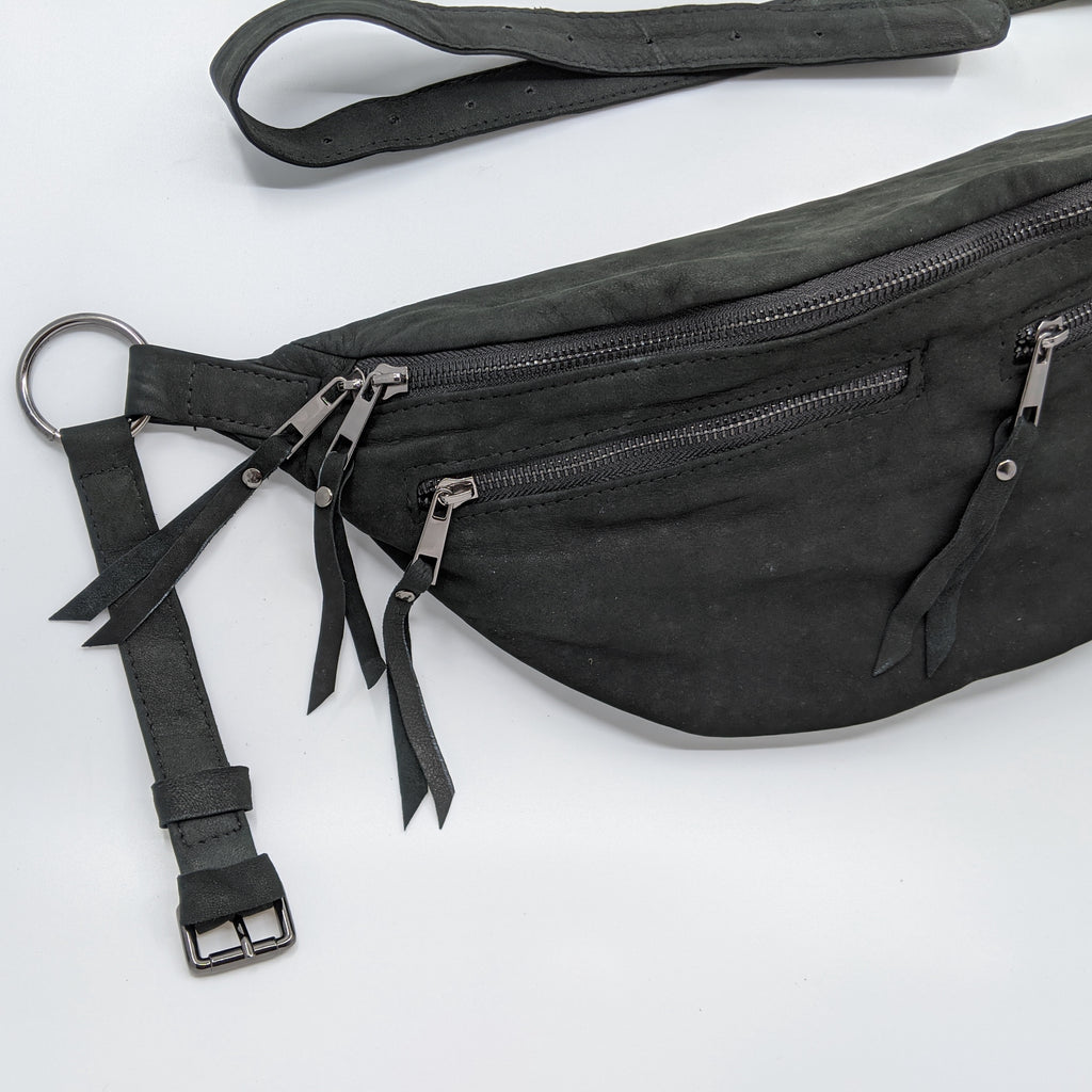 The Everywhere Bag — Black Suede with Gunmetal Hardware