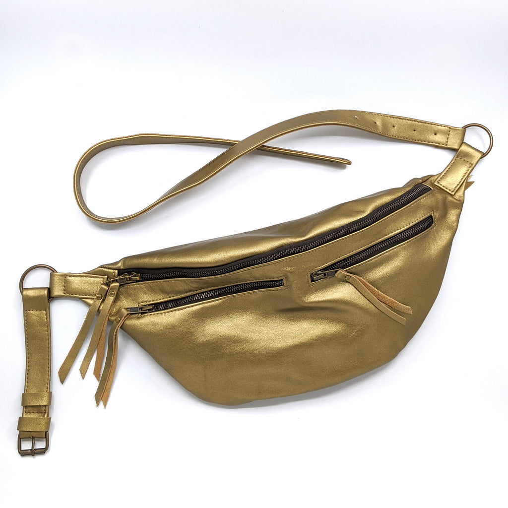 The Everywhere Bag — Metallic Gold Leather with Brass Hardware
