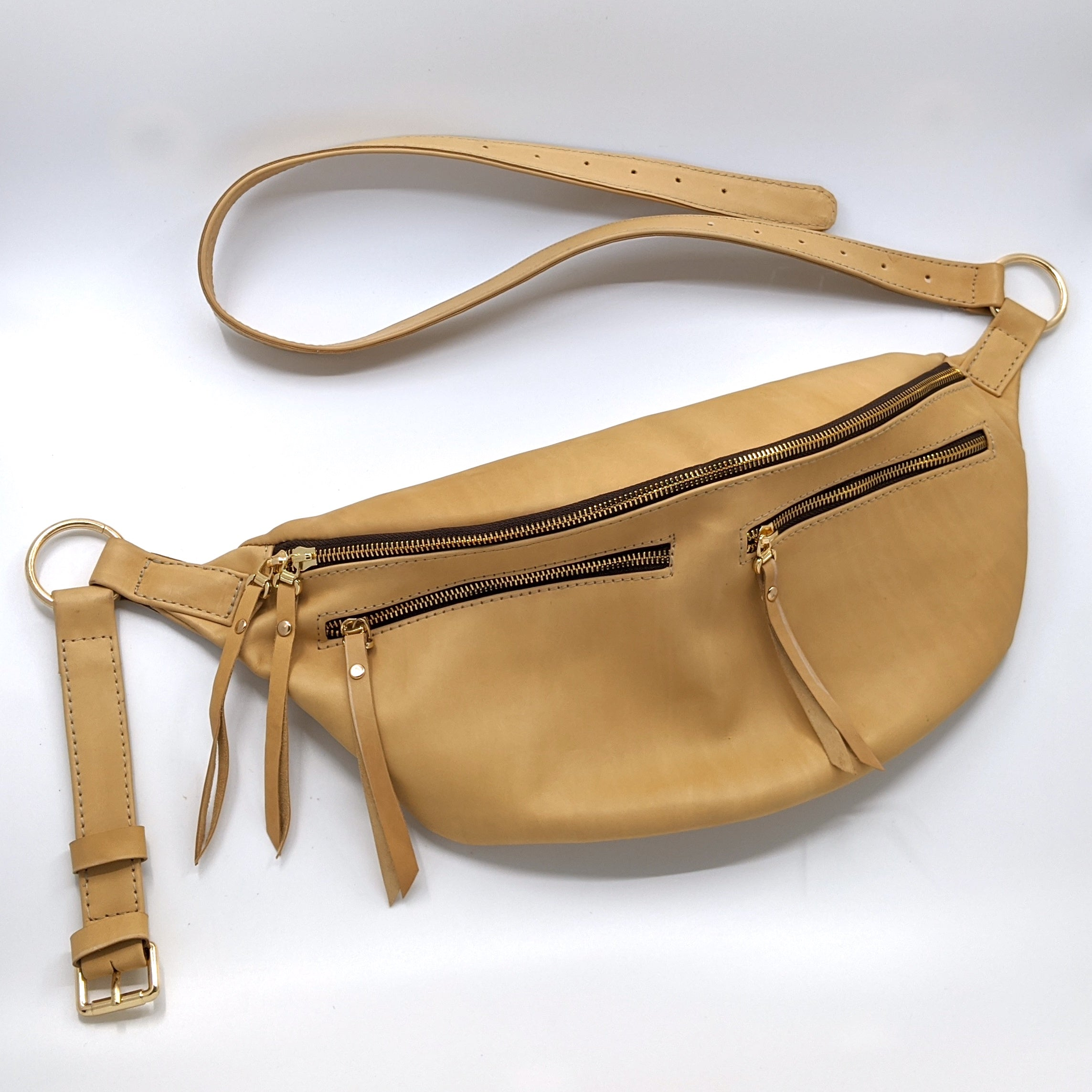 The Everywhere Bag — Very Light Camel-colored Leather with Gold Hardware