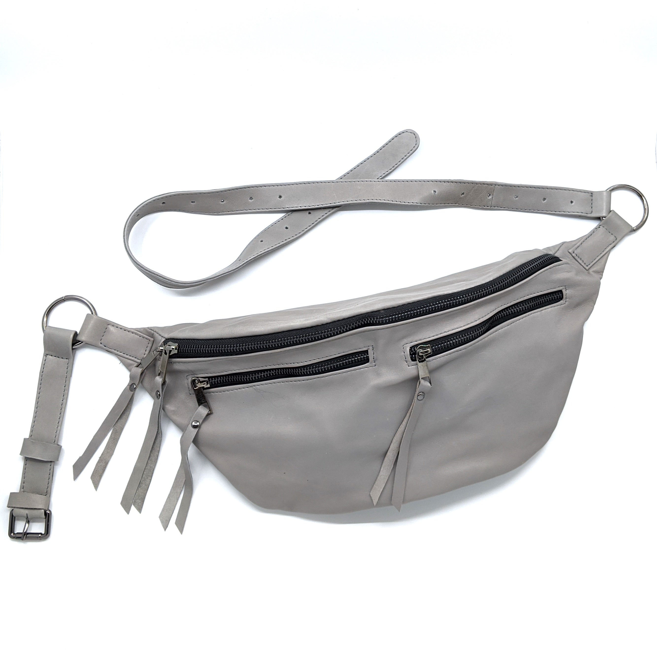 The Everywhere Bag — Elephant Grey Leather with Gunmetal Hardware