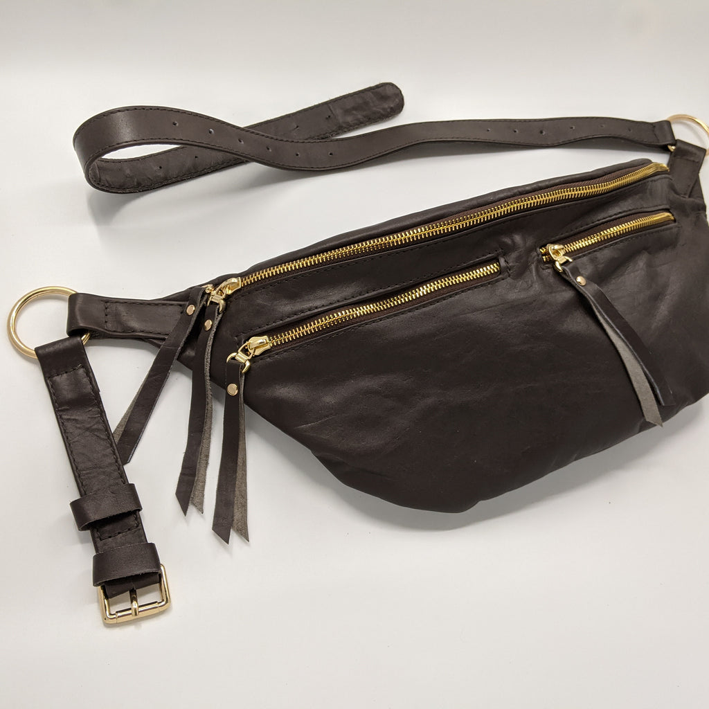 The Everywhere Bag — Dark Brown Leather with Gold Hardware