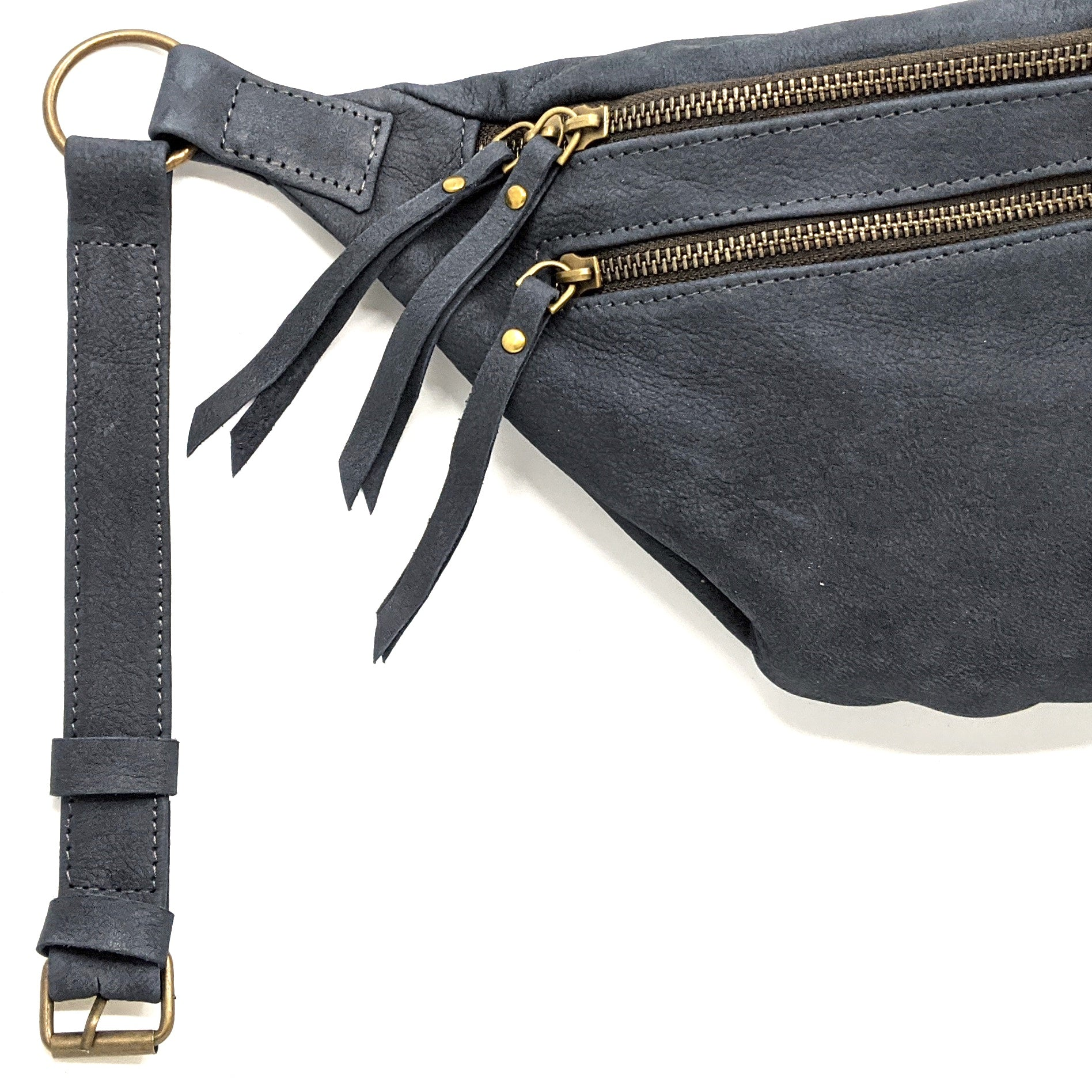 The Everywhere Bag — Egyptian Blue Suede with Brass Hardware