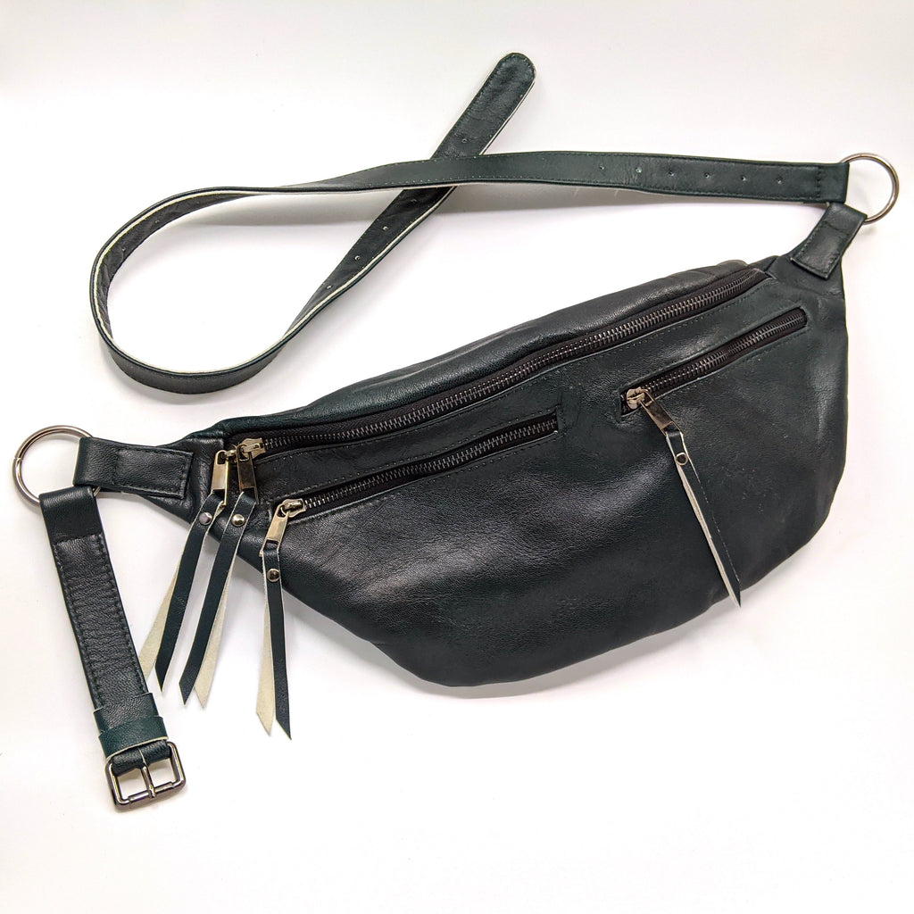 The Everywhere Bag — Deep Sacramento Green Leather with Gunmetal Hardware
