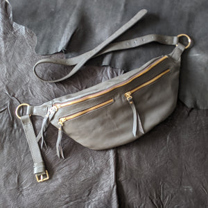 The Everywhere Bag — Dark Taupe Leather with Gold Hardware