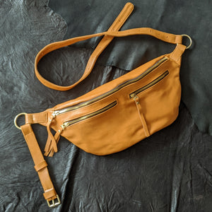 The Everywhere Bag — Shiny Ochre Leather with Gold Hardware
