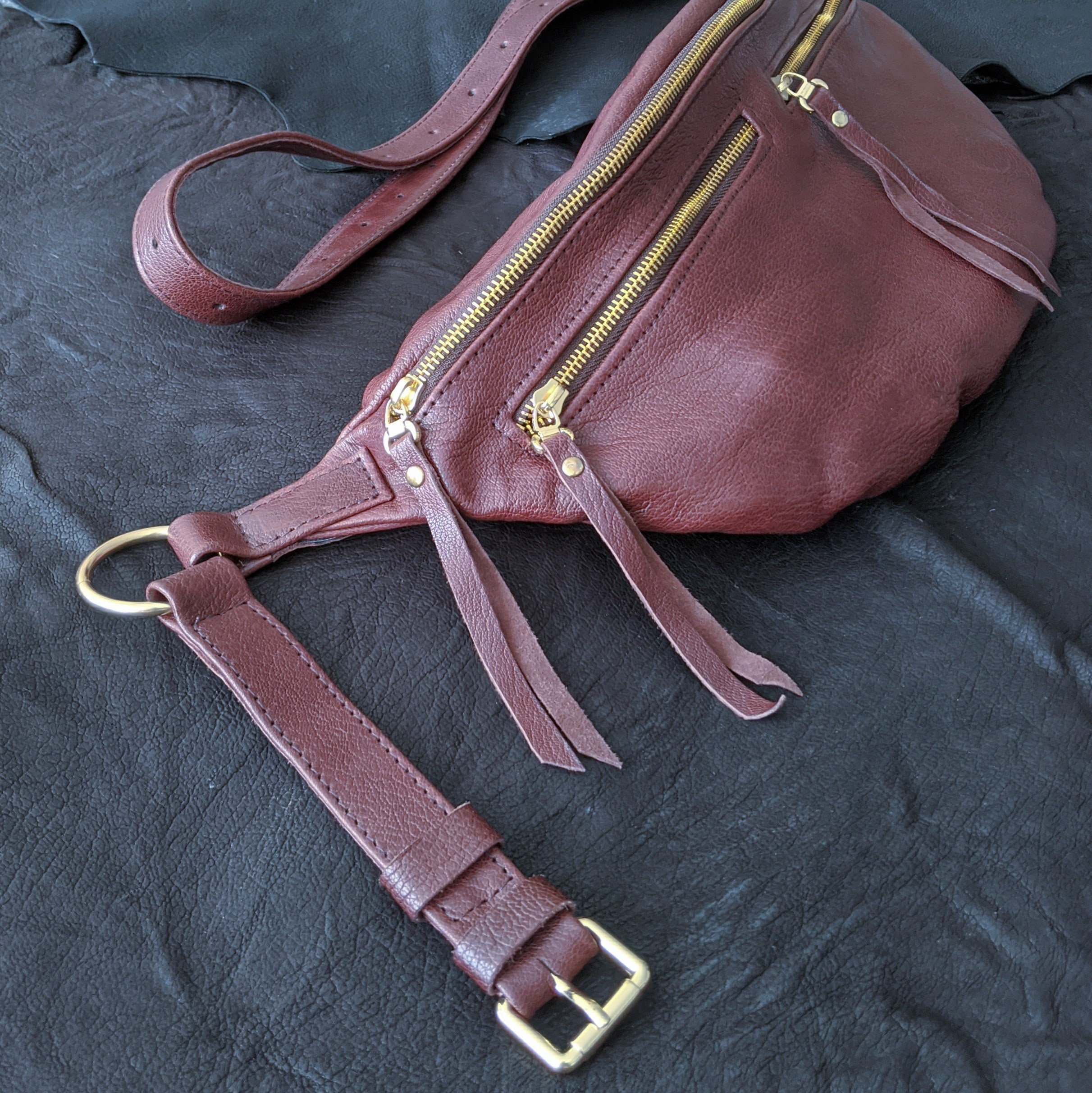 The Everywhere Bag — Grainy Raspberry Blush Leather with Gold Hardware