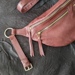 The Everywhere Bag — Grainy Strawberry Blush Leather with Gold Hardware
