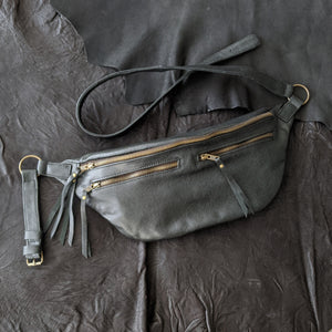 The Everywhere Bag — Grainy Dark Green Leather with Brass Hardware