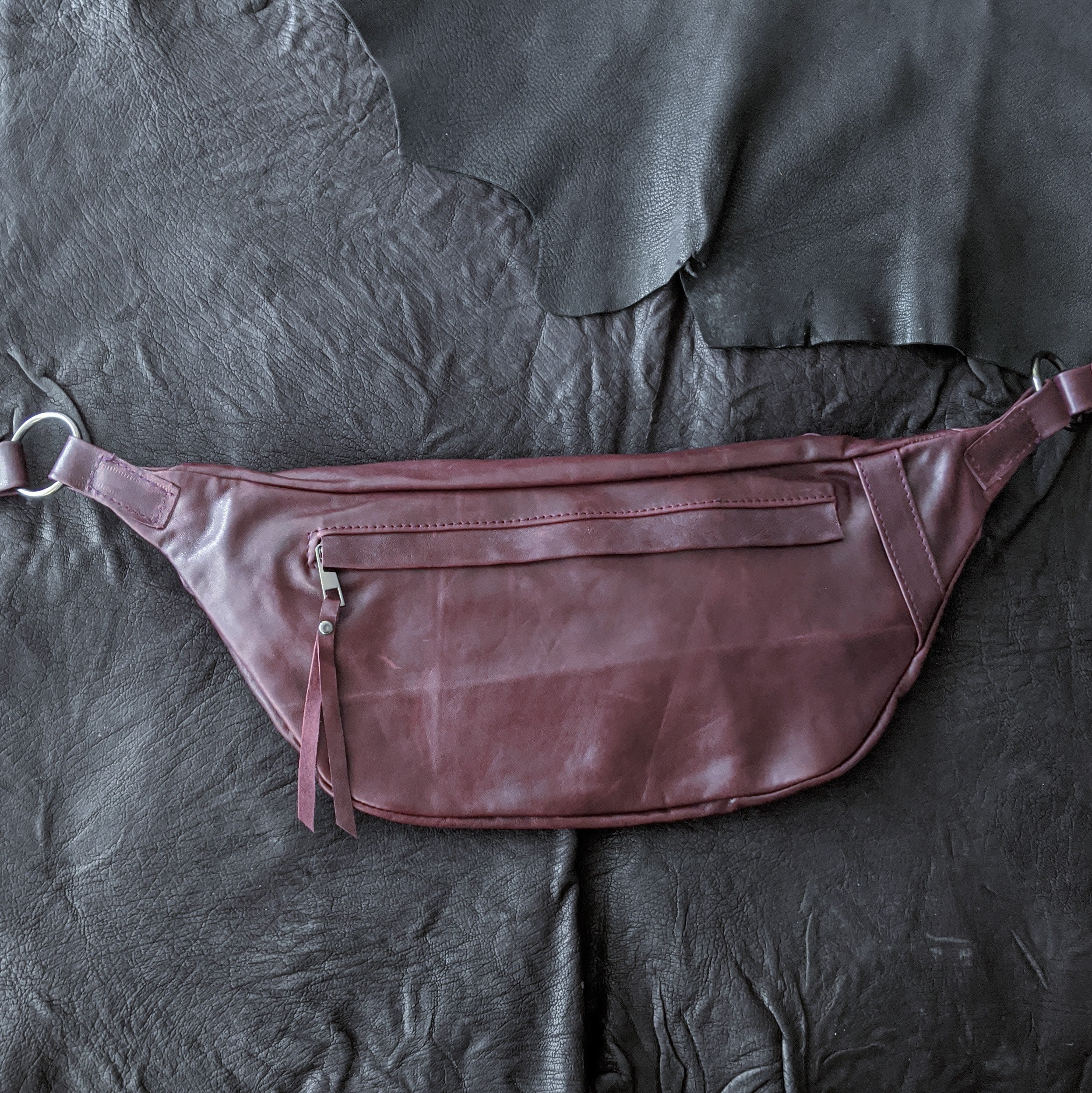 The Everywhere Bag — Distressed Burgundy Leather with Gunmetal Hardware