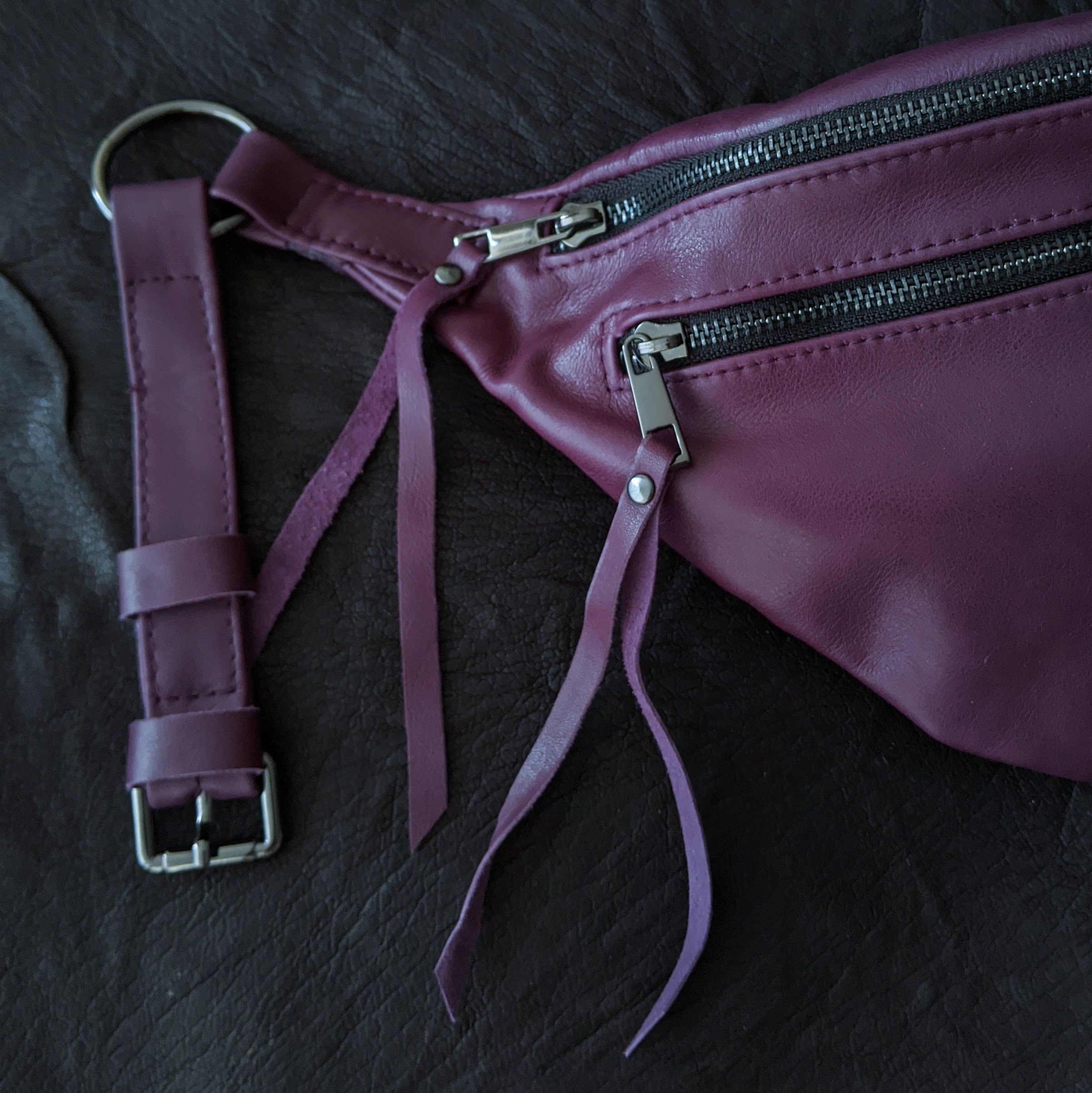 The Everywhere Bag — Barney Purple Leather with Gunmetal Hardware