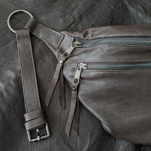 The Everywhere Bag — Slashed Dark Brown Leather with Gunmetal Hardware