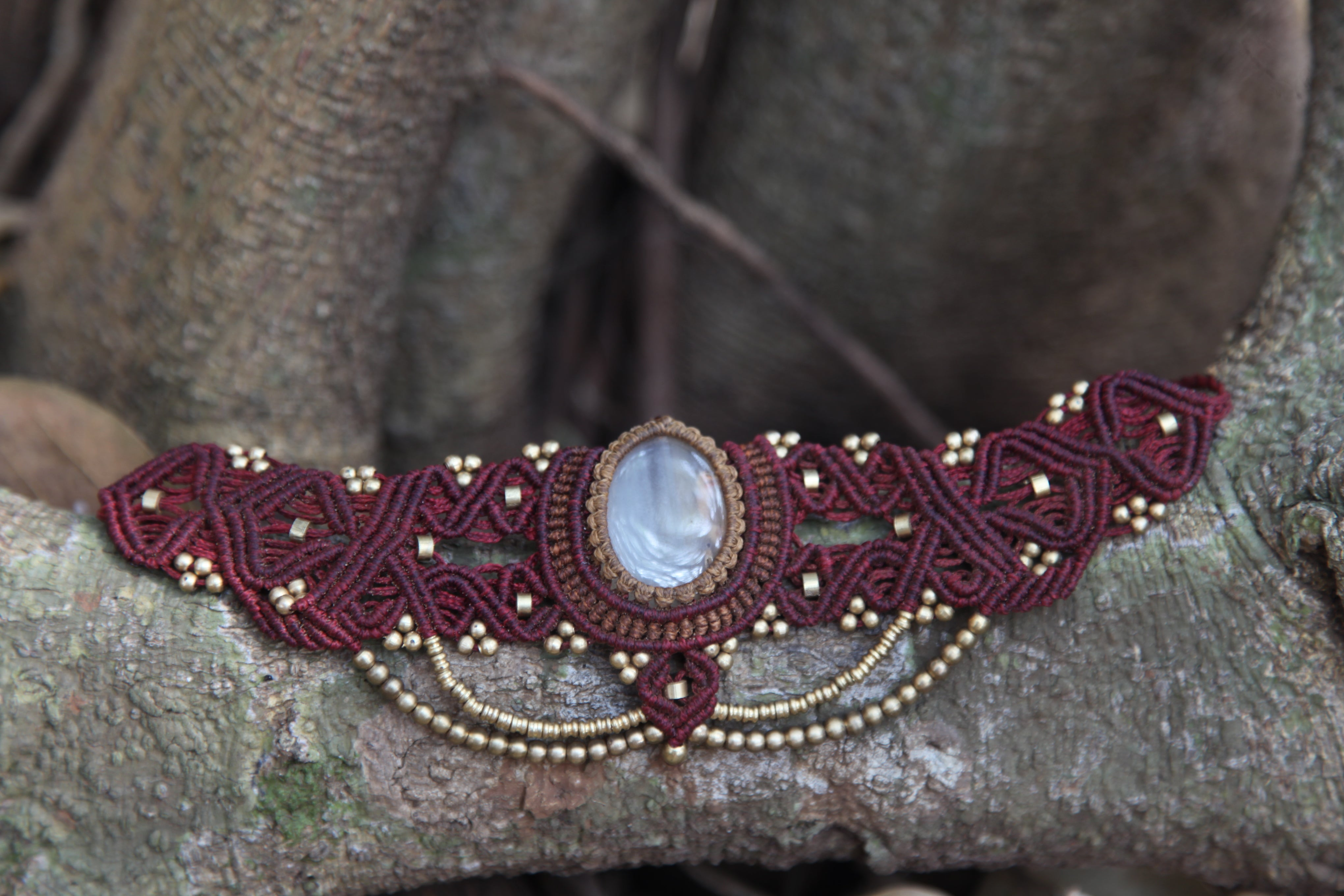The QueenOffDuty Headdress/Choker in Red Deep with Banded Natural Agate Stone