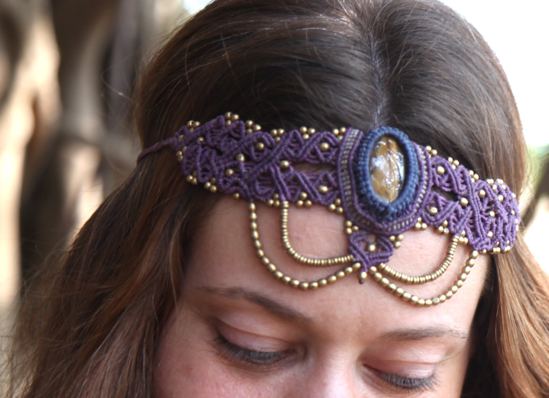 The QueenOffDuty Headdress/Choker in Purple Velvet with Tiger's Eye Stone