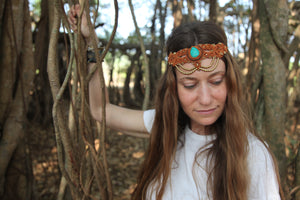 The QueenOffDuty Headdress/Choker in Caramel with Blue Howlite Stone