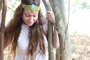 The QueenOffDuty Headdress/Choker in Green Lime with Blue Howlite Stone