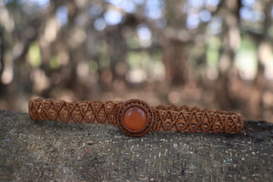 The One Moon Headdress/Choker in Caramel with Banded Orange Agate Stone