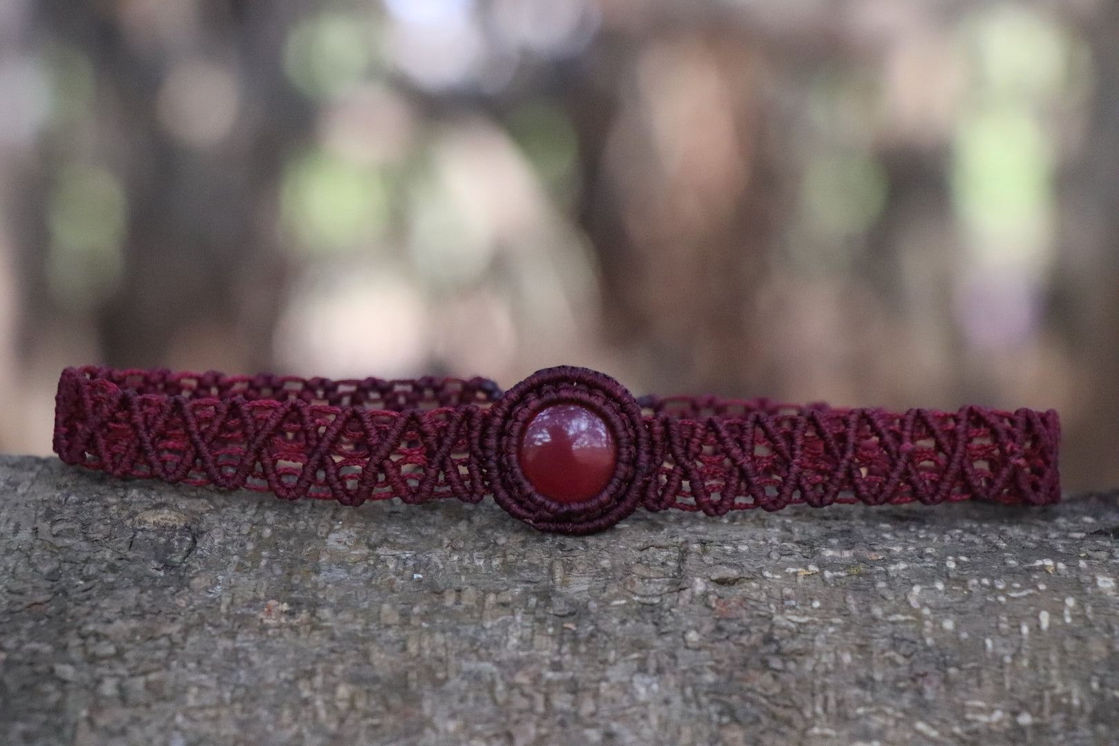 The One Moon Headdress/Choker in Red Deep with Banded Red Agate Stone