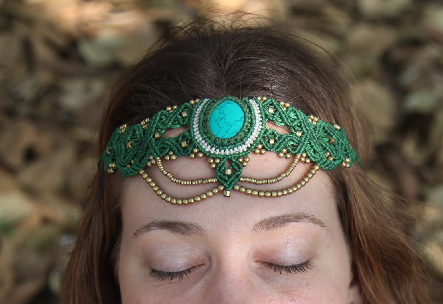 The QueenOffDuty Headdress/Choker in Green Jade with Blue Howlite Stone