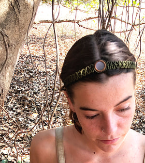 The One Moon Headdress/Choker in Olive with Banded Pink Moonstone