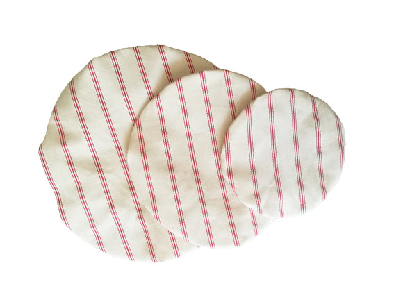 Bowl Cover Set with red stripes