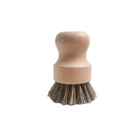 Bamboo pot brush with natural bristles