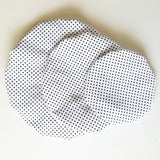 Bowl Cover Set - white polka dot fabric