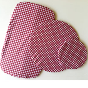 Dish Cover Set -red check print fabric