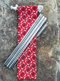 Stainless Steel Straw Set in Shweshwe Pouch