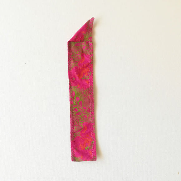 Straw Pouch - Pink Shweshwe fabric with flowers