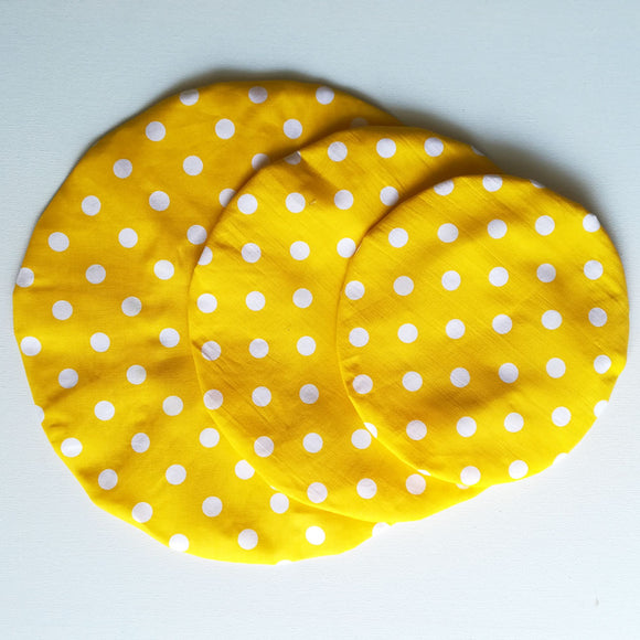 Bowl Cover Set -Yellow Polka dot