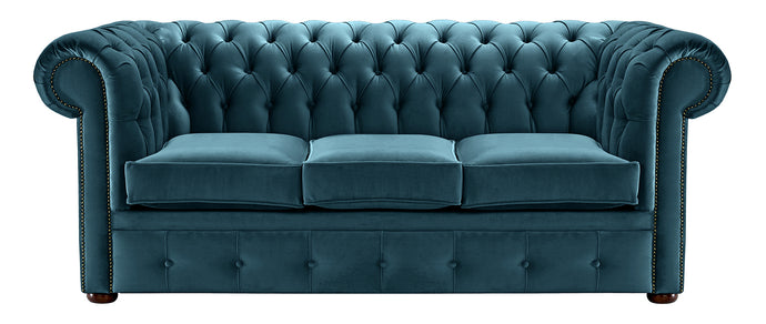 1694 Chesterfield Sofa, Blue Allure Velvet