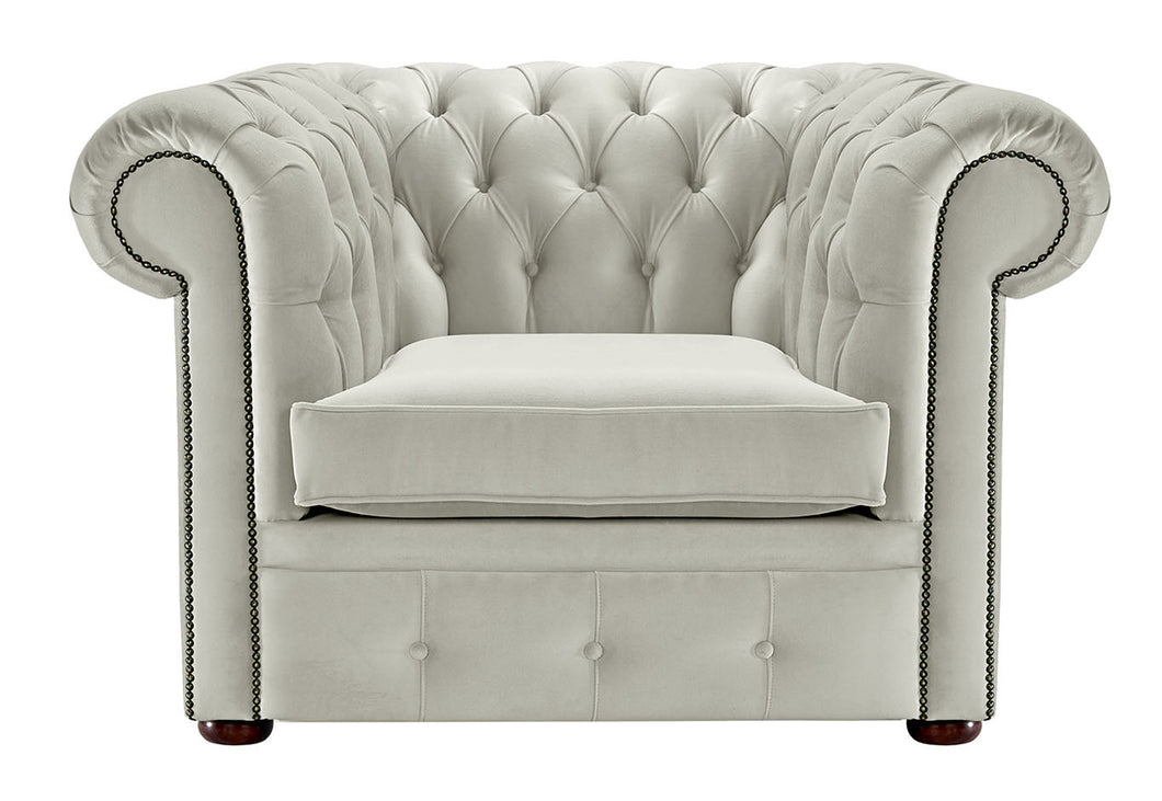 1694 Chesterfield Club Chair, Cream Allure Velvet