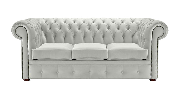 1694 Chesterfield Sofa, Silver Allure Velvet