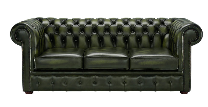 1694 Chesterfield Sofa, Green Antique Leather