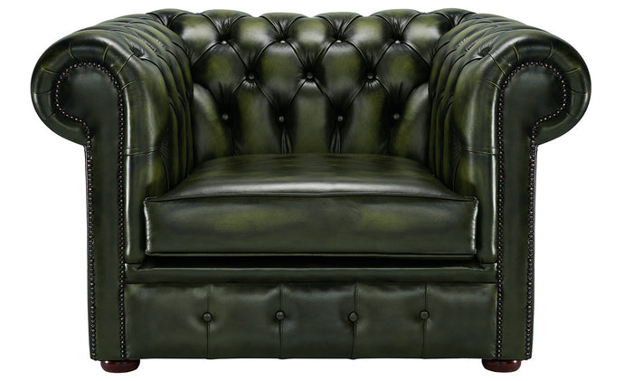 1694 Chesterfield Club Chair, Green Antique Leather