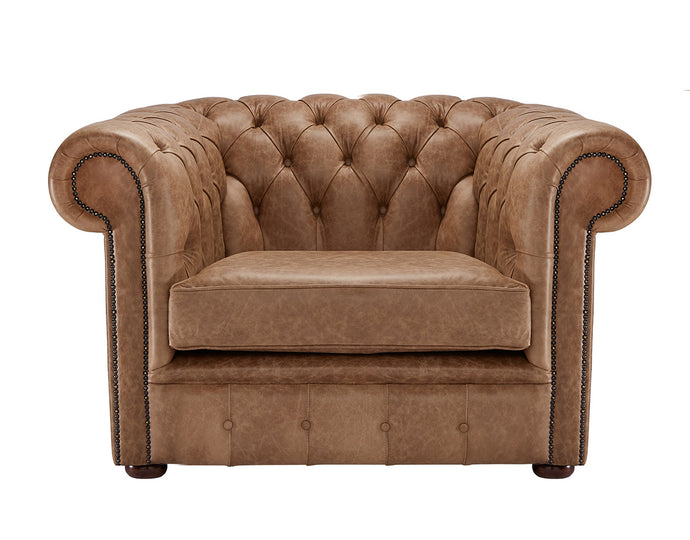 1694 Chesterfield Club Chair, Bridle Heritage Leather