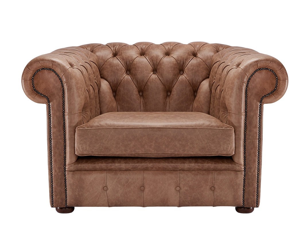 1694 Chesterfield Club Chair, Hazel Heritage Leather