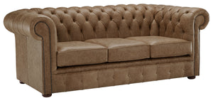 1694 Chesterfield Sofa, Honey Heritage Leather
