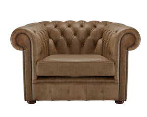 1694 Chesterfield Club Chair, Honey Heritage Leather