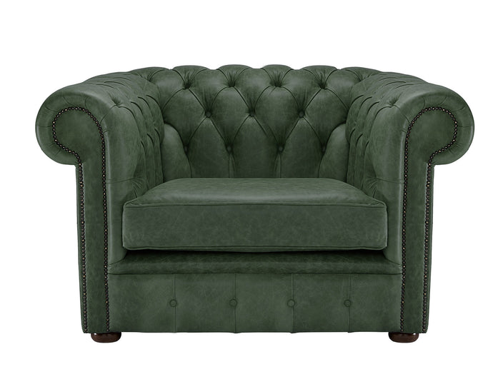 1694 Chesterfield Club Chair, Verde Heritage Leather
