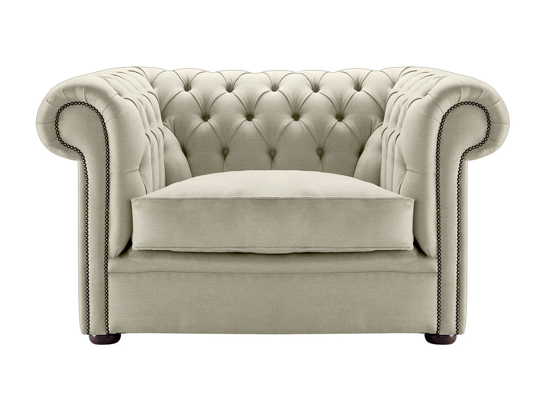 1694 Chesterfield Club Chair, Cream Weave