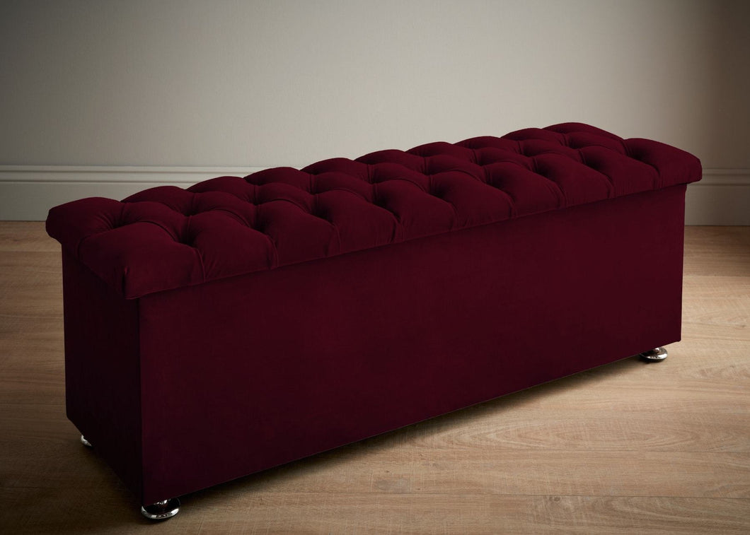 Chesterfield Ottoman, Boysonberry Monaco Velvet